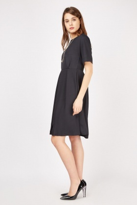 Navy Short Sleeve Swing Dress