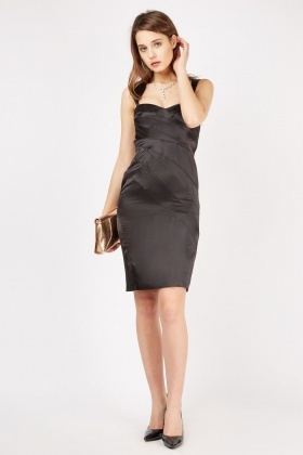 Pleated Sateen Sweetheart Dress