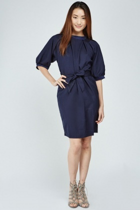 Raglan Sleeve Tie Up Tunic Dress