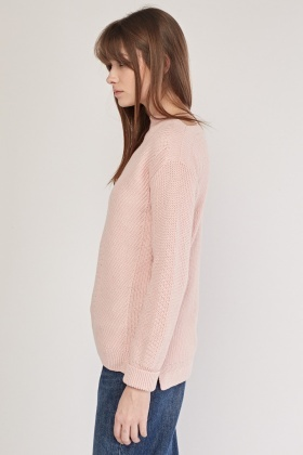 Roll Up Sleeve Chunky Knit Jumper