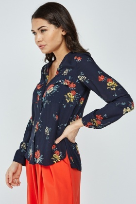 Sheer Floral Button Up Blouse