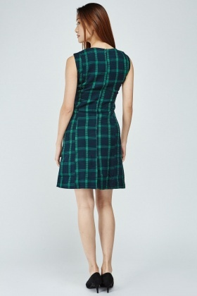 Sleeveless Plaid Midi Dress