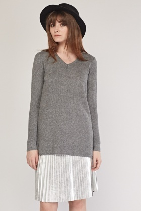 V-Neck Textured Knit Jumper