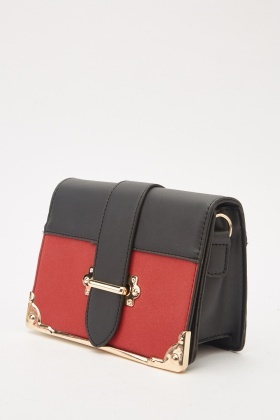 Contrasted Faux Leather Baguette Bag