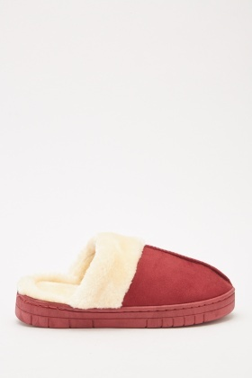 Contrasted Fluffy Slippers
