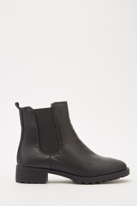 Faux Leather Elasticated Boots