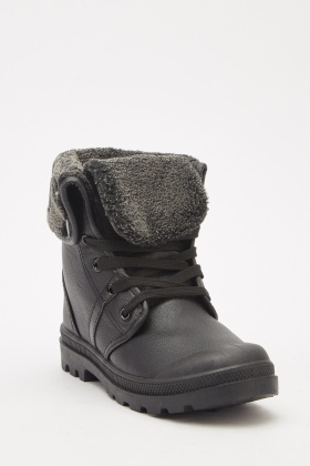 Faux Leather Lace Up Winter Boots