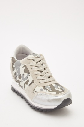 Metallic Contrast Lace Up Trainers