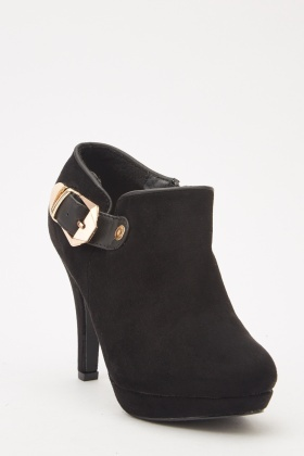 Suedette Heeled Mule Boots