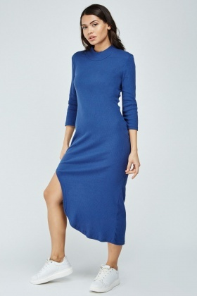 Asymmetric Ribbed Midi Dress
