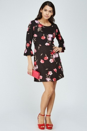 Bell Sleeve Floral Swing Dress