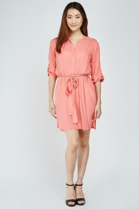 Belted Coral Tunic Dress