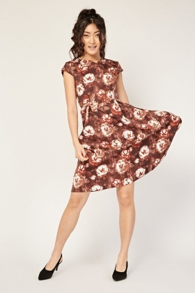 Cap Sleeve Flower Print Swing Dress