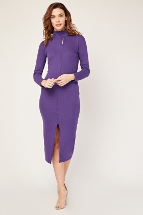Centre Front Slit Funnel Neck Midi Dress