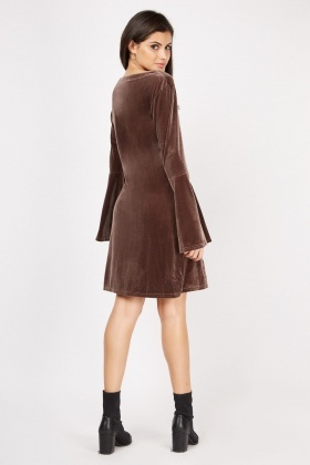 Embroidered Velveteen Tunic Dress