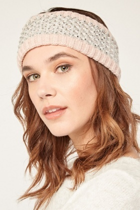 Fleece Lined Encrusted Metallic Knit Headband