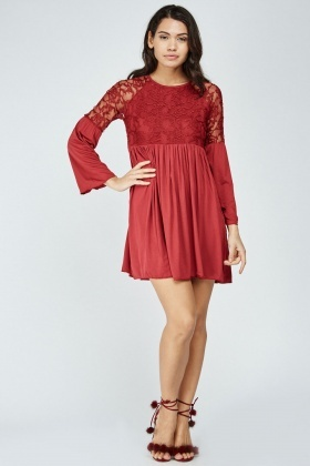 Lace Insert Frilly Smock Dress