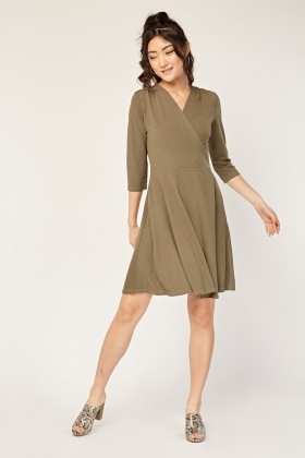 Long Sleeve Wrap Swing Dress
