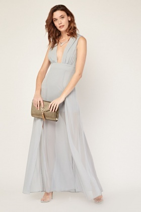 Low Plunge Chiffon Maxi Dress