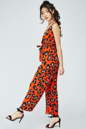 Low Plunge Printed Wrap Jumpsuit