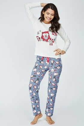Novelty Owl Print Pyjama Set