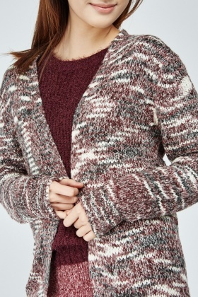 Open Front Speckled Mix Knit Cardigan