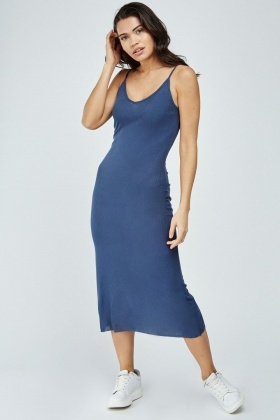Slip-On Midi Rib Dress