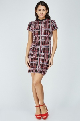 Textured Plaid Bodycon Dress