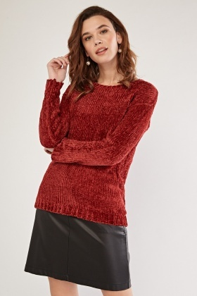 Crew Neck Red Chenille Knit Jumper