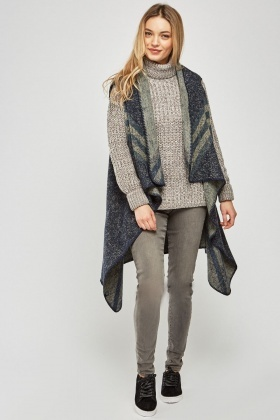 Draped Open Front Poncho