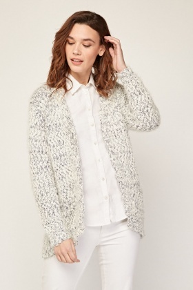 Front Pockets Eyelash Knit Cardigan