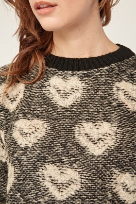 Heart Print Pattern Textured Knit Jumper