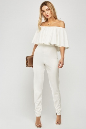 Ruffle Overlay Off Shoulder Jumpsuit