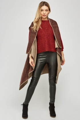 Sleeveless Draped Speckled Poncho