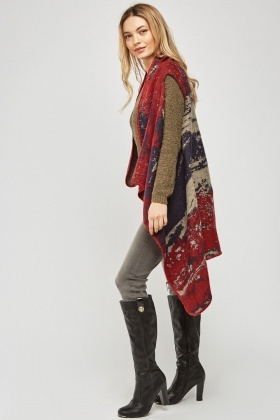 Sleeveless Mix Speckled Poncho