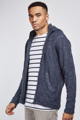 Zip Up Knitted Hooded Jacket