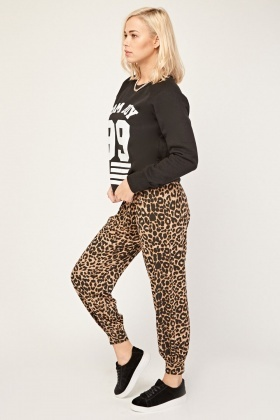 Animal Print Jogger Style Pants
