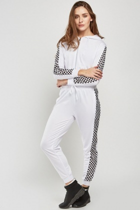 Checkered Panel Zip Up Hoodie And Trouser Set