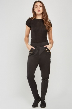 Contrasted Faux Leather Side Trousers