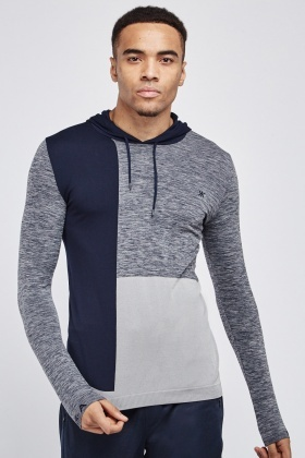 Contrasted Speckled Sports Hoodie