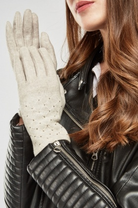 Embellished Diamond Stitched Gloves