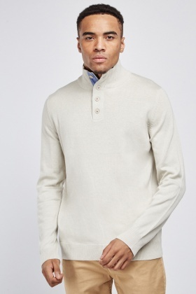 High Ribbed Neck Knit Jumper