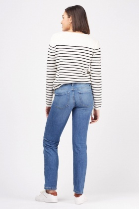 Low Waist Denim Blue Jeans
