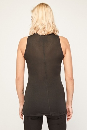 Mesh Back Speckled Sports Top