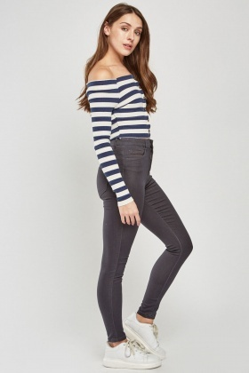 Mid Rise Casual Skinny Jeans