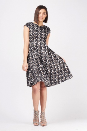 Mix Printed Midi Swing Dress