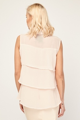 Ruffle Sheer Sleeveless Blouse