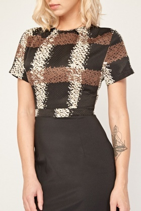 Scattered Plaid Pencil Dress