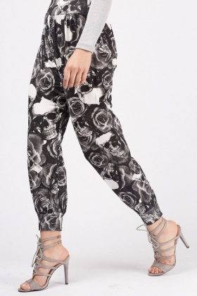 Skull Rose Print Tapered Joggers