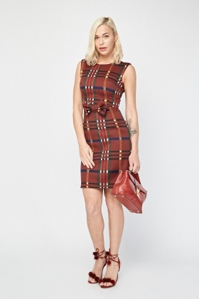 Sleeveless Checkered Shift Dress